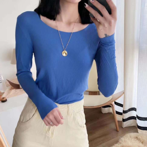 Cotton Blends Solid Color O Neck Full Sleeves Women Top - Blue