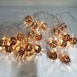 20 Pieces Circular Hollow Ball String Led Lights Bulbs - Golden