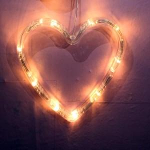 Heart Shape Led Sucker Fix Decorative Lamp Light - White