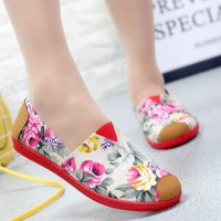 Floral Printed Casual Flat Women Canvas Shoes - White