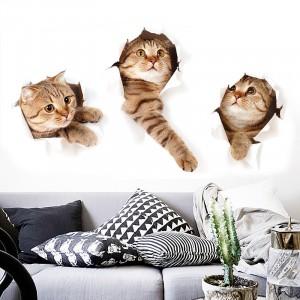 Set Of 3 Waterproof Self Adhesive Real Cute Cat Children's Room Decoration Sticker