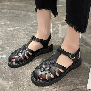 Buckle Closure Hollow Flat Wear Sandals - Black