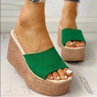 Thick Bottom Canvas Casual Wear Platform Women Heel Sandals - Green