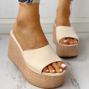 Thick Bottom Canvas Casual Wear Platform Women Heel Sandals - Beige