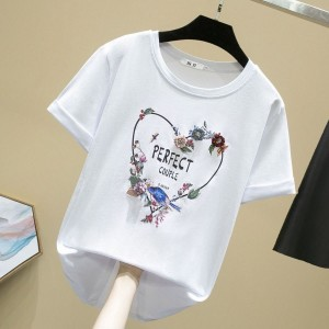 Floral Printed Heart Decorative Casual Women T-Shirt - Floral