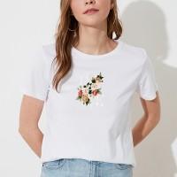 Floral Love Round Neck Women Fashion T-Shirt - White