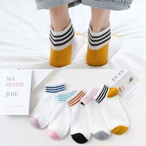 Five Pieces Contrast Cotton Soft Wear Kids Socks - Multicolor