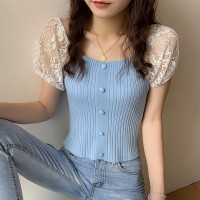 Floral Textured Sleeves Ribbed Button Up Blouse Top - Blue