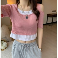 Ribbed Cold Shoulder Mini Sexy Wear Top - Pink