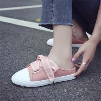 Lace Closure Flat Wear Mule Sneakers - Pink