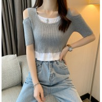 Ribbed Cold Shoulder Mini Sexy Wear Top - Gray