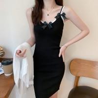 Sleeveless Spaghetti Strapped Bow Mini Dress - Black