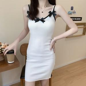 Sleeveless Spaghetti Strapped Bow Mini Dress - White