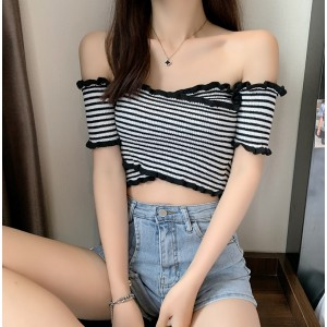 Ruffled Pattern Sexy Wear Fitted Blouse Top - Black and White