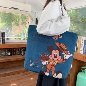 Carton Printed Fashionable One Shoulder Canvas Cloth Ladies Bag - Dark Blue