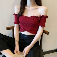 Ruffled Pattern Sexy Wear Fitted Blouse Top - Red