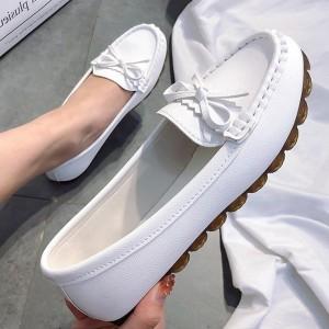 Bow Patched Plain Pattern Flat Wear Women Fashion Shoes - White
