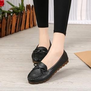 Bow Patched Plain Pattern Flat Wear Women Fashion Shoes - Black