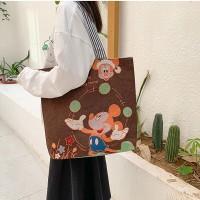 Carton Printed Fashionable One Shoulder Canvas Cloth Ladies Bag - Brown