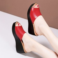 Thick Bottom Casual Wear Platform Thick Heel Sandals - Red