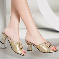 Glittery Golden Square Heel Fashion Wear Heel Sandals - Golden
