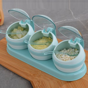 3 Pieces Spice Salt Pepper Containers Box Set - Sea Green