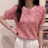 Leopard Printed Round Neck Elegant Blouse Top - Pink