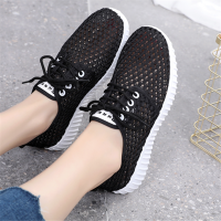 Hollow Breathable Summer Wear Women Fashion Sneakers - Black