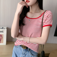 Round Neck Stripes Printed Short Sleeves Blouse Top - Red