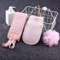 Three Piece Set Thick Rubbing Pull Bath Ball Towel - Pink