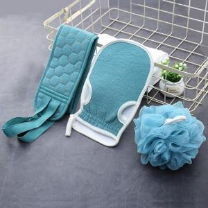 Three Piece Set Thick Rubbing Pull Bath Ball Towel - Light Blue