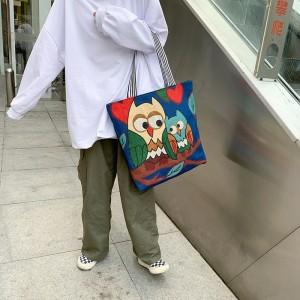 Cute Owl Printed Fashionable One Shoulder Canvas Cloth Ladies Bag - Blue