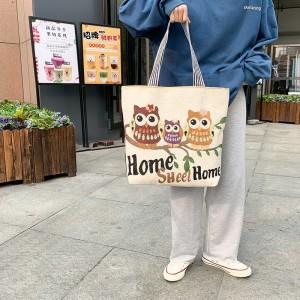 Cute Owl Printed Fashionable One Shoulder Canvas Cloth Ladies Bag - Apricot
