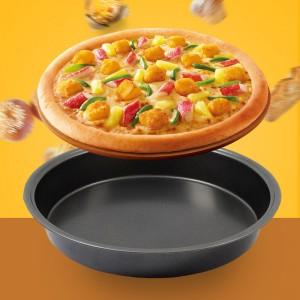 9 Inches Non Stick Round  Shape Pizza Baking Tray - Black