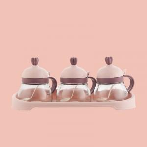 3 Pcs Set Seasoning Creative Salt Capacity Jar - Pink