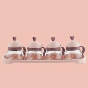 4 Pcs Set Seasoning Creative Salt Capacity Jar - Pink