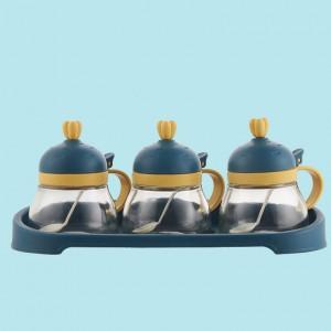 3 Pcs Set Seasoning Creative Salt Capacity Jar - Blue