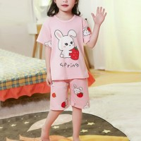 Cartoon Printed Kids Wear Round Neck Two Pieces Suit - Pink