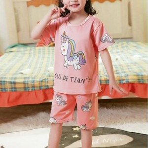 Cartoon Printed Kids Wear Round Neck Two Pieces Suit - Rose Pink