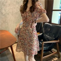 Thin Fabric Floral Printed V Neck Mini Dress - Pink