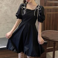 String Design Bow Patched Short Sleeves Mini Dress - Black