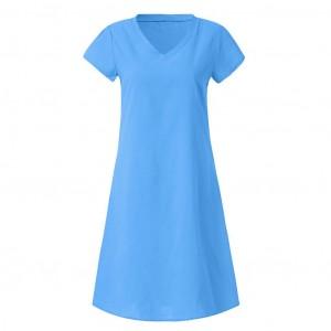 Solid Color V Neck Short Sleeves Mini Dress - Blue