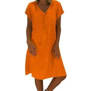 Solid Color V Neck Short Sleeves Mini Dress - Orange