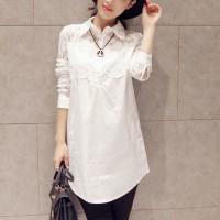 Shirt Collar Lace Full Sleeves Mini Dress - White
