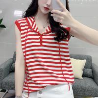 Stripes Printed Loose Wear Women Fashion Top - Red