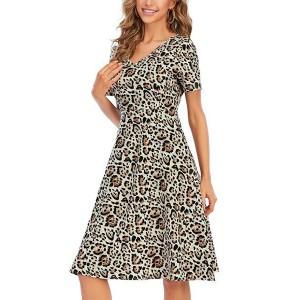 Leopard Printed V Neck Shrot Sleeves Mini Dress
