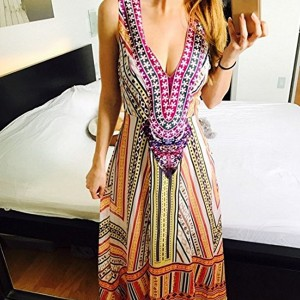 Deep Neck Sexy Bohemian Digital Printed Thin Fabric Full Length Dress