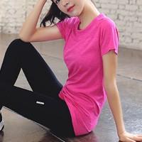 Mesh Pattern Sportswear Casual Wear T-Shirt - Hot Pink