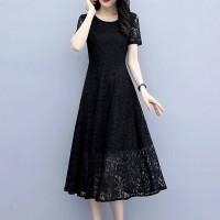 Lace Textured Floral Elegant Midi Length Dress - Black