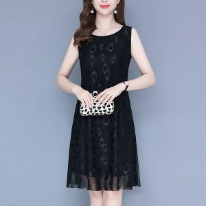 Printed Thin Fabric Sleeveless Mini Dress - Black